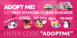 We are always asking for people to test the codes and make sure they aren't expired. Team Rudimentality On Twitter The Crossover We Ve All Been Waiting For Use Code Adoptme In Bad Business For Free Stickers Roblox Robloxdev Https T Co L8exf0udwv