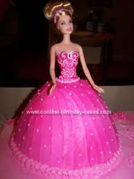 Coolest Homemade Bright Pink Barbie Birthday Cake Made With The