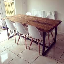 industrial wood dining table reclaimed industrial chic 6 8 solid wood and metal dining intended for industrial wood dining table