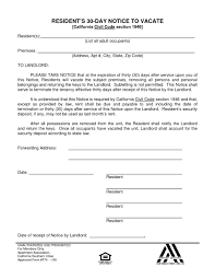 30 day notice to landlord form 028 day notice template california to vacate letter tenant ulyssesroom