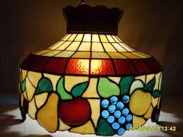 vintage tiffany style stained glass ceiling swag lamp art deco fruit gs