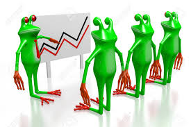 3d Cartoon Frogs And Presentation With A Chart Great For Topics