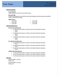 Free Functional Resume Templates Microsoft Word Resume Examples