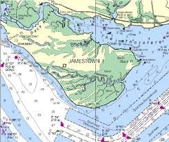 jamestown why there? Map Of Voyage From England To Jamestown modern navigation chart showing river channel at jamestown island England to Jamestown VA Map