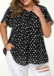 Modlily Size Chart Dot Print V Neck Plus Size Blouse Modlily Com Usd 26 14