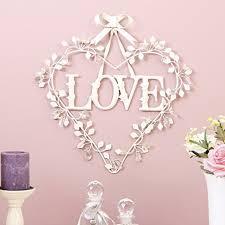 cream love metal decorative heart wall art with droplets h47 x w45cm efa2v1e