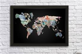 world map currencies wall decor frame on world map wall art with photo frames with world map currencies worldflag canvas
