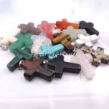 details about 24pcs lot natural stone cross pendant for necklace diymix lot