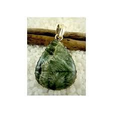 green ribbon semi precious gemstone in 925 sterling silver pendant