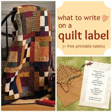 What to write on a quilt label + FREE printable labels | Handmade ... & What to write on a quilt label + FREE printable labels Adamdwight.com