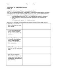 "self reliance"" by ralph waldo emerson th th grade worksheet  ""self reliance"" by ralph waldo emerson worksheet"