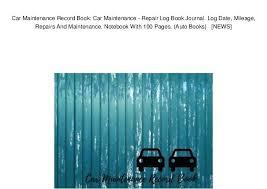 Car Maintenance Record Vehicle Maintenance Record Book Mecalica Co