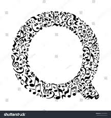 Q letter made of musical notes on white background. Alphabet for art  school. Trendy