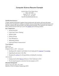 Computer Science Resume Template Sample Download Free Documents