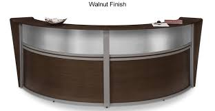 ofm double marque plexi reception station with silver frame and 3 wood finish options