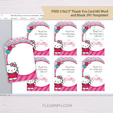 Blank Thank You Card Template Word Hello Kitty Invitation Template