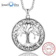 whole tree of life large pendant necklace jewelry 925 sterling silver necklaces pendants for women best gift jewelora ne101908 silver charms rose