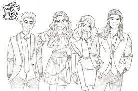 Descendants Coloring Pages Sketch Characters Get Coloring Page