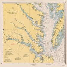 Vintage 1940 Nautical Chart Of Chesapeake Bay 100 For Wall
