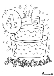 Verjaardagstaart 4 Jaar Kleurlandnl Kleurplaten Kids Birthday