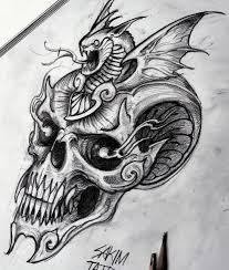 оригинальный эскиз тату с черепом в графике Tattoos эскиз черепа
