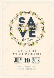 Save The Date Wedding Invitation Card Design Template Stationery