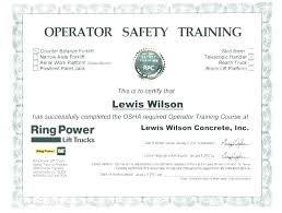 Forklift Training Certification Card Template Safety