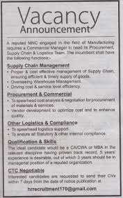 Commercial Manager Job Vacancy In Nepal - A Reputed Mnc - Aug. 2018 ...