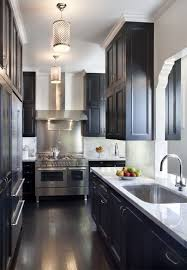 kitchen idea Modern Chic galley kitchen with dark cabinets and floor, white  moulding and countertop. stainless steel appliances and fixtures; ...