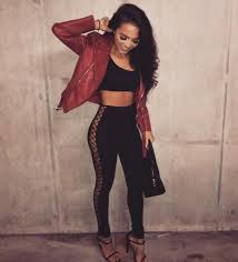 jacket leather leather jacket red jumpsuit black lace up lace up pants black jumpsuit black pants