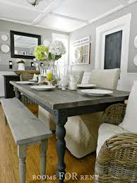 farmhouse dining table with stain and paint colors