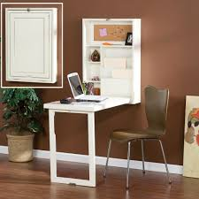 astonishing design of the space saving desk with white wooden table ideas added with brown leather