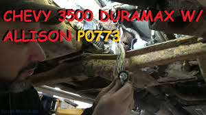 chevy duramax w allison automatic shifting trouble p0773 youtube  at Repairing Damaged External Wiring Harness On 2004 Gmc Allison Transmission