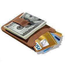 genuine leather money clip rfid card holder