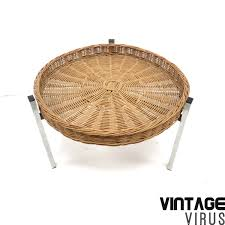 mid century coffee table rattan