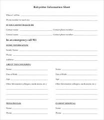 Babysitter Information Babysitter Information Sheet Template 7 Free Word Pdf