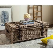safavieh navarro rattan gray coffee table trunk