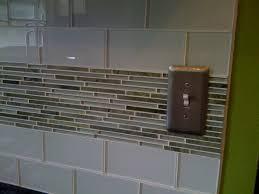 Kitchen Backsplash Glass Tile Subway Porcelain Tile With Granite Countertop On Green Cabinet