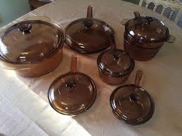 pyrex visions amber glass cookware 13 pc set sauce fry pan dbl boiler 1726980341
