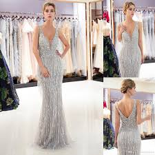 Mermaid Designer 2019 Modest Gray Gold Mermaid Designer Evening Dresses Luxury Beaded Sexy Deep V Neck Womens Formal Occasion Wear Prom Party Gown Cps1167 Designer