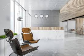 Office reception area Wall Modern Office Reception Area With Gray Walls Marble Reception Desk Concrete Floor And Panoramic Flickr Modern Office Reception Area With Gray Walls Marble Reception
