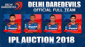 Ipl 2018 Delhi Daredevils Full Team List Official Squad Gambhir Captain