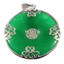 green jade sterling silver chinese round ring pendant