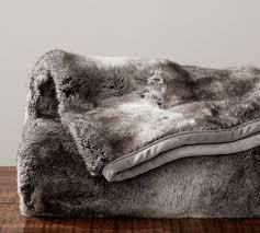 Faux Fur Throw - Gray Ombre | Pottery Barn &  Adamdwight.com