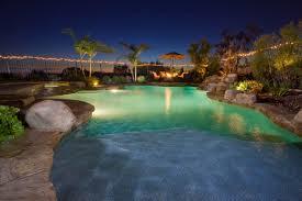 swimming pool lighting design. Lighting Design For Beautiful Pool And Natural View Of Rocks Plants Swimming
