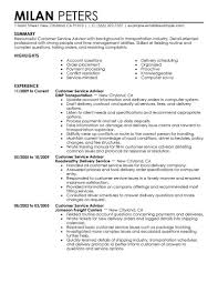 Customer Service Resume Template Free Customer Service Advisor Luxury Service Advisor Resume Sample 8