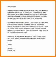 request for absent from work leave of absence letter to customers1