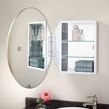 White Mirrored Bathroom Cabinets Furniture Splendid Oval Bathroom Mirrors Design With White