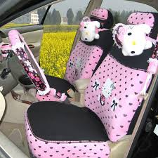 name hello kitty universal lace auto car seat cover set cotton 20pcs pink black