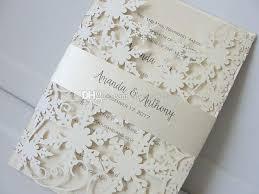 elegant ivory shimmy snowflake cut wedding invitations with belt birthday anniversary party invites with free printing wedding invitation cards diy